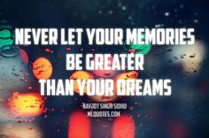 Quote by Navjot Singh Sidhu. Never let your memories be greater than your dreams.