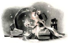 art, spot illustration, figure, woman, side, holding, sitting, object, cinderella, fairy tale, //  Annette Marnat