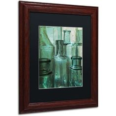 Trademark Fine Art Antique Bottles Canvas Art by Patty Tuggle, Black Matte, Wood Frame, Size: 11 x 14, Brown