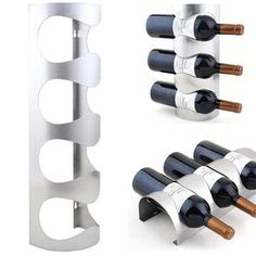 New 1PC 3/4 Bottles Metal Wine Rack Wall Mounted Bar Wine Bottle Holders  Storage
