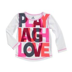 "adidas+""Play,+Laugh,+Love""+Tee+-+Girls+4-6x"