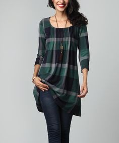 Another great find on Green Plaid Pin-Tuck Empire-Waist Tunic Dress by Reborn Collection Designer Kurtis, Designer Dresses, Modelos Fashion, Tunic Leggings, Black Leggings, Casual Outfits, Fashion Outfits, Tunic Pattern, Mode Hijab