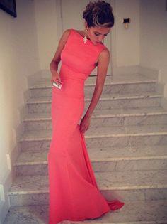 Trumpet/Mermaid Bateau Prom Dresses/Evening Dresses #DQ007