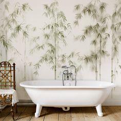 Hand painted wallpaper on cotton watercolor media Hand Painted Wallpaper, Wall Wallpaper, Clawfoot Bathtub, Pantone, Bamboo, Relax, Flooring, Home, Bathroom Wall