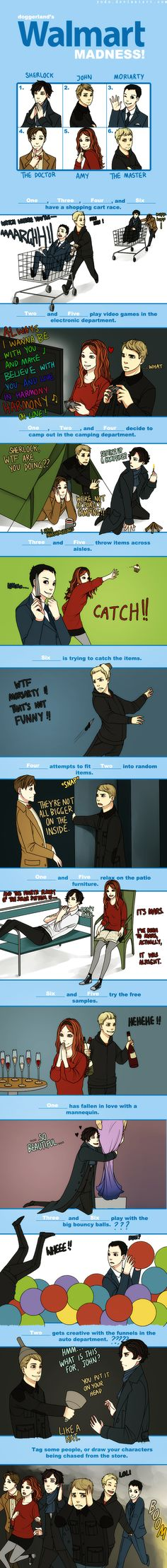 haha what doctor who and sherlock do at walmart! i find it awesome that the master and jim are holding hands