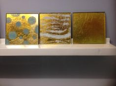 "Eglomise, 4""x4"" glass tiles in 22k Gold leaf."