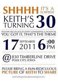 30th surprise birthday party ideas for men - Google Search