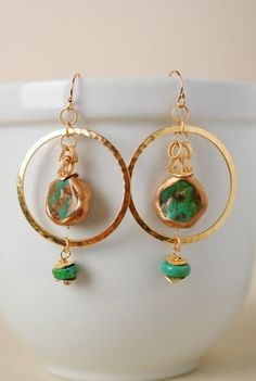 circ002e unique handcrafted turquoise matte gold plated brass gold filled earwires dangle hoop earrings for women