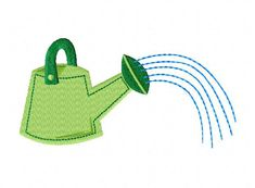Watering Can Machine Embroidery Design