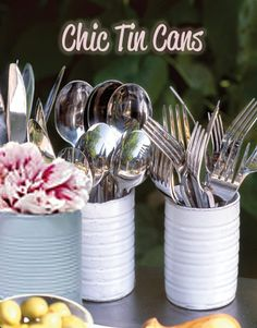Today's outdoor entertaining idea is rustic, functional, and a simple diy rolled into one tin can! http://www.relishcaterersnyc.com/729745/2013/07/25/outdoor-entertaining-beautiful-centerpieces-from-the-recycle-bin.html?source=facebook