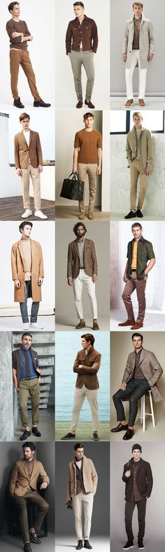 Key Menswear Colour Palettes: Earth Tones Palette Outfit Inspiration Lookbook