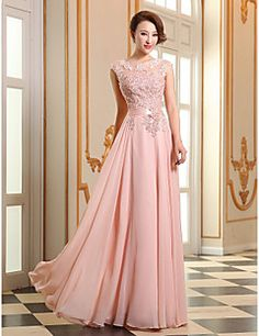 A-line Jewel Floor-length Georgette Evening Dress (LF196)