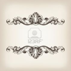 vintage border  frame filigree engraving  with retro ornament pattern in antique baroque style ornate decorative antique calligraphy design   Stock Photo - 17117031