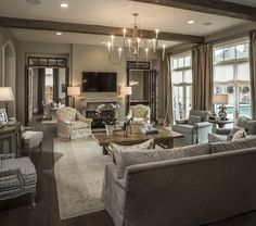 Thompson Custom Homes - living rooms - living room, family room, tv over fireplace, fireplace tv, fireplace flatscreen, french doors, living...