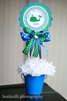 Preppy Whale Centerpiece in Blue and Green by SoCuteParties, $15.00