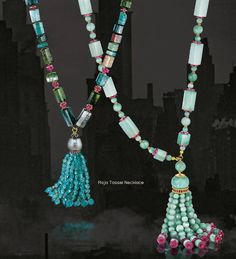 Raja Tassel Necklace, Verdura  Blue and green tourmaline, ruby, apatite, Tahitian pearl and gold; chrysoprase, jade, ruby and gold