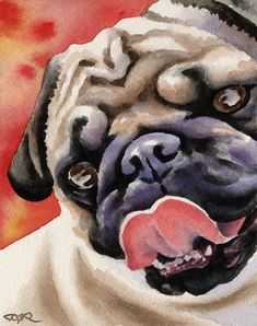 PUG Dog Art Print Signed by Artist DJ Rogers by k9artgallery