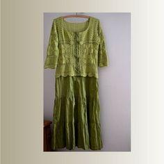 Abito di cotone estivo, abito verde oliva femminile, uncinetto artsy unico abito, vestito, vestito casual, boho abito, Vestito gitano, upcycled abbigliamento