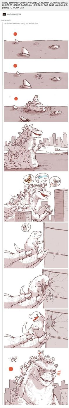 Funny pictures about Godzilla On Take Your Child To Work Day. Oh, and cool pics about Godzilla On Take Your Child To Work Day. Also, Godzilla On Take Your Child To Work Day photos. Bd Comics, Funny Comics, Tumblr Funny, Funny Memes, Videos Funny, Online Comics, Cute Stories, Kawaii, You Draw