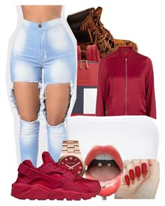 """""""Untitled #2296"""" by kayla77johnson ❤ liked on Polyvore featuring Timberland, Tommy Hilfiger, Topshop, MANGO, Michael Kors and NIKE"""