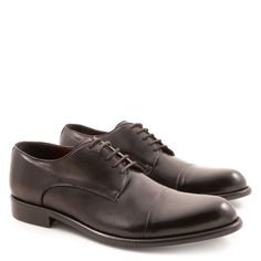 Handmade men's derby shoes in genuine black leather - Italian Boutique €304