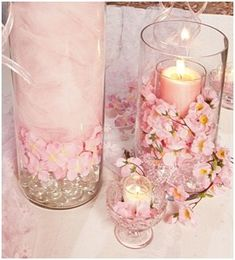 I could do this! I have so many cherry blossom trees! Cherry Blossom Centerpiece, Cherry Blossom Party, Cherry Blossoms, Cherry Blossom Decor, Wedding Centerpieces, Wedding Table, Wedding Decorations, Tulle Centerpiece, Candle Centerpieces