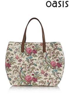 Buy Oasis Cream Floral Shopper Bag from the Next UK online shop
