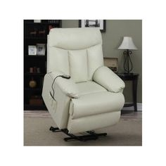 Power Lift Chair Leather Seat Ivory Recliner Elderly Disabled Remote Wall Hugger #NA