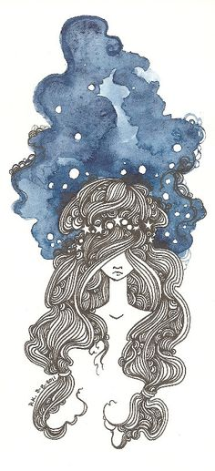 Etsy. ink and water color. I love the combination of the water color and ink. The water colors give it a soft look contrasting with the pen strokes.