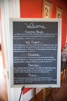 Wedding Signage with Personality! This is so cool! And a way for everyone to know what's going on