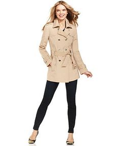 Calvin Klein Coat, Double-Breasted Belted Trench - Coats - Women - Macy's