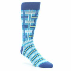 Blues White Plaid Men's Dress Socks by Statement Sockwear. Every purchase of Statement Sockwear socks sold helps provide 100 days of clean water for 1 person in Africa. Fits U.S. Men's Shoe Sizes 8-12.