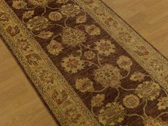 2.7 x 7 Handmade High Quality Veggie Dye Hand Spun Wool Afghan Sultanabad Runner