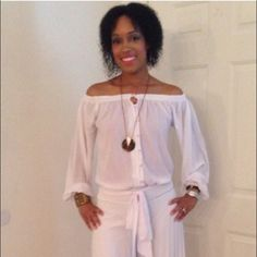 All White Jumpsuit! All white jumpsuit Size S! GORGEOUS!!! It can be worn on or off the shoulders. Perfect for an all white event. I wore this item one time to an all white engagement party. Other