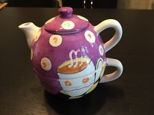 Teapot Purple Tea Time  B.I. INC. Stoneware 3 Piece Set--Tea for One