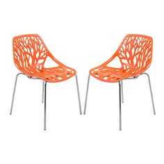LeisureMod Asbury Orange Open Back Chrome (Grey) Dining Side Chair set of 2 (Asbury Orange Chair with Chrome Legs, Set of Dining Chair Set, Dining Room Chairs, Dining Room Furniture, Side Chairs, Dining Area, Kitchen Chairs, Balcony Chairs, Dining Table, Dining Sets