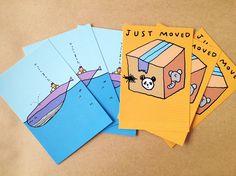 小西慎一郎引越しポストカードです。パンダ、あり、ゾウのオレンジカード3枚クジラのブルーカード3枚2種類のカード3枚ずつ、合計6枚のセットです。裏面の切手欄には...|ハンドメイド、手作り、手仕事品の通販・販売・購入ならCreema。