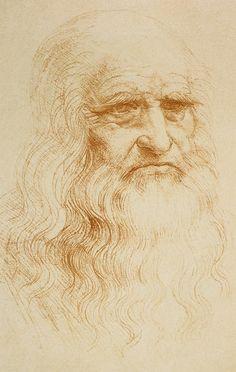 Vermutlich ein Selbstportrait von Leonardo da Vinci mit dem Bildtitel Portrait eines alten Mannes