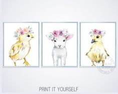 Farm animal print set of 3 for farmhouse floral girls nursery. Baby lamb, chick and cute duck print. #etsy #farmnursery #girlnursery