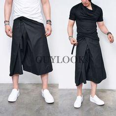 Avant-garde Dark Edge Mens Black Belted Wrap Skirt Cropped Short Pants Guylook…
