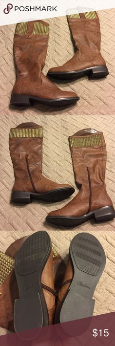 """NWOT Candies Boots Ladies 9 1/2 M New without tags, not worn. Candies Boots are 9 1/2 medium with 16"""" calf. Side zippers. Man made materials. Features brass studs. Very stylish! Clean, smoke free home. Candie's Shoes Heeled Boots"""