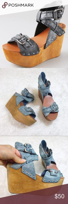 Joe's Jeans Boho Chic Wooden Platform Wedge Sandal Distressed leather with studded side walls & leather sole. Approx 4.25in heel & 2.25in wedge. There is no longer a center holding piece, where the straps criss-cross (refer to cover photo), does not affect wearability. Some minor wear of the sole & still in good pre- loved condition (price reflects this)   •I inspect all items and describe them thoroughly and honestly •Items are sold as is (as described) •I package each item with CARE & SHIP…