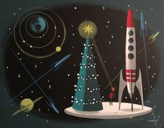 EL GATO GOMEZ PAINTING RETRO 1950'S SCI-FI ROBOT ROCKET CHRISTMAS TREE HOLIDAY | Art, Art from Dealers & Resellers, Prints | eBay!