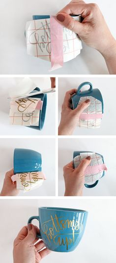 Learn how to DIY personalized mugs and tea cups with vinyl - it's easy to do with professional results! Make your own cups easily with my free cut files.