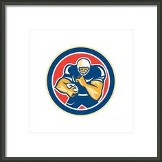 American Football Player Fend Off Circle Retro Framed Print By Aloysius Patrimonio
