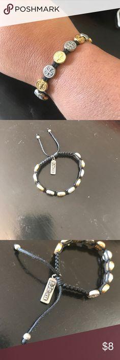 "My Saints My Hero Bracelet Adjustable woven bracelet with gold & silver tones, max size: 10"" min size: 3 1/2"", excellent condition, smoke free house Jewelry Bracelets"