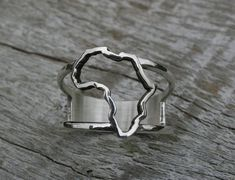 Africa Ring, Continent ring Sterling Silver map of Africa ring, African Africa Continent, Africa Map, Maputo, Gold Diamond Rings, Continents, Sterling Silver Rings, My Favorite Things, Unique Jewelry, Bracelets