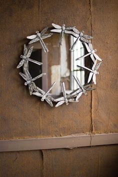 Farmhouse Metal Dragonfly Round Wall Mirror 25''D. #Unbranded #Farmhouse