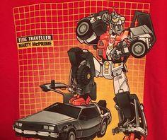 Mens Big Tshirt 3XL Shirt Time Traveler Geek Transformers Back To The Future 3X