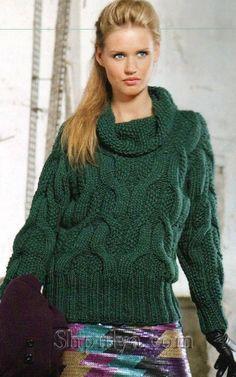 Зеленый пуловер с узором из кос из толстой пряжи